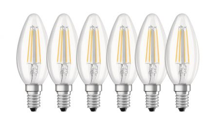 6er SET 4W OSRAM LED Base Classic B40 E14 Filament klar 2700K A++ wie 40W