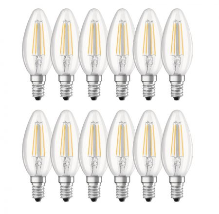 12er SET 4W OSRAM LED Base Classic B40 E14 Filament klar 2700K A++ wie 40W