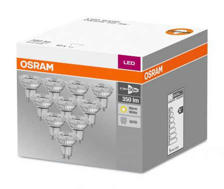 3.6W = 50W 2700K 36° ND OSRAM LED Base Glas GU10 Spot 10er Set