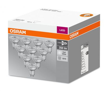 4.3W = 50W 4000K 36° ND OSRAM LED Base Glas GU10 Spot 10er Set