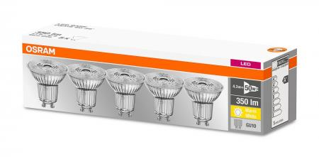 4.3W = 50W 2700K 36° ND OSRAM LED Base Glas GU10 Spot 5er Set