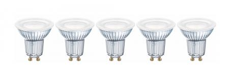 4.3W = 50W 2700K 120° ND OSRAM LED Base Glas GU10 Spot 5er Set