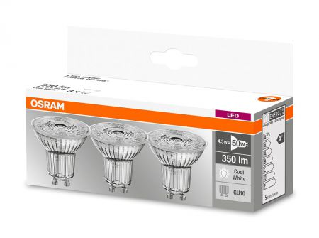 3.6W = 50W 4000K 36° ND OSRAM LED Base GU10 Spot 3er Set Glas
