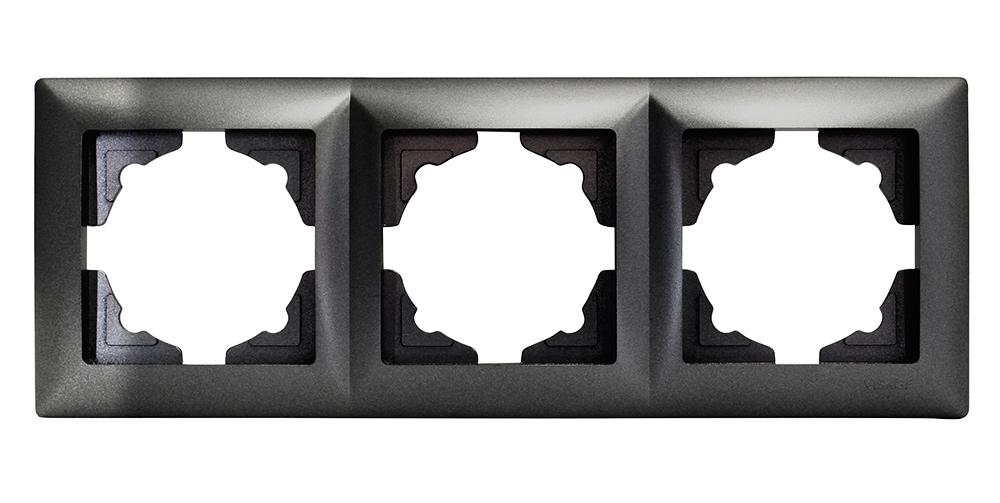Gunsan Visage 3-fach Rahmen Steckdosen Schalter Dimmer Dunkelsilber ...
