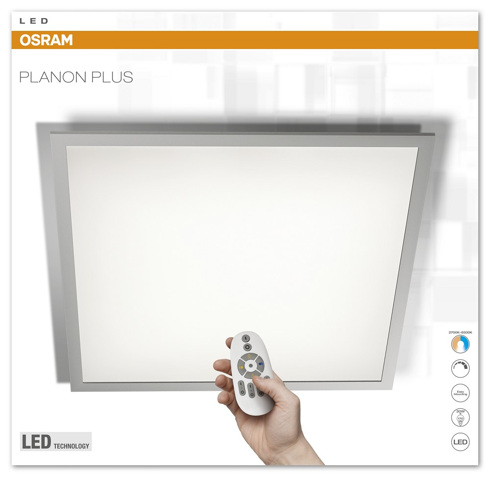 36w osram planon plus panel 3000k 60x60 cm led lampen osram bioledex toshiba. Black Bedroom Furniture Sets. Home Design Ideas