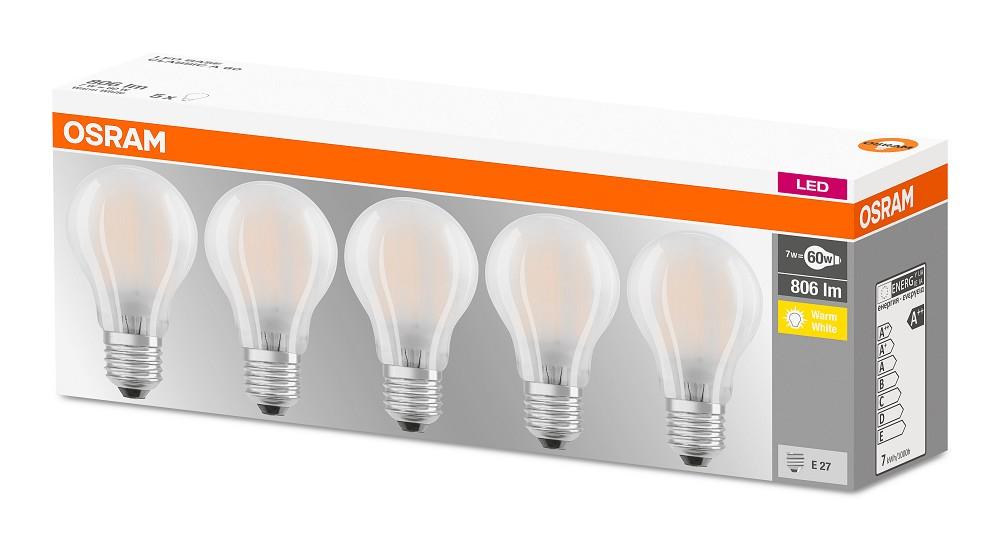 7W = 60W 2700K ND OSRAM LED Base A60 Filament MATT 5er Box - LED ...
