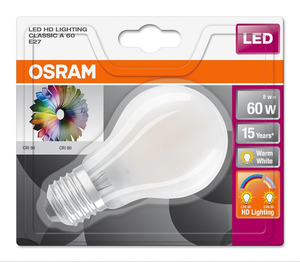8w 60w 2700k 320 nd osram led hd lighting cri90 a60 matt led lampen osram bioledex toshiba. Black Bedroom Furniture Sets. Home Design Ideas